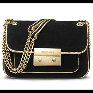 Michael Kors black suede and gold shoulder bag